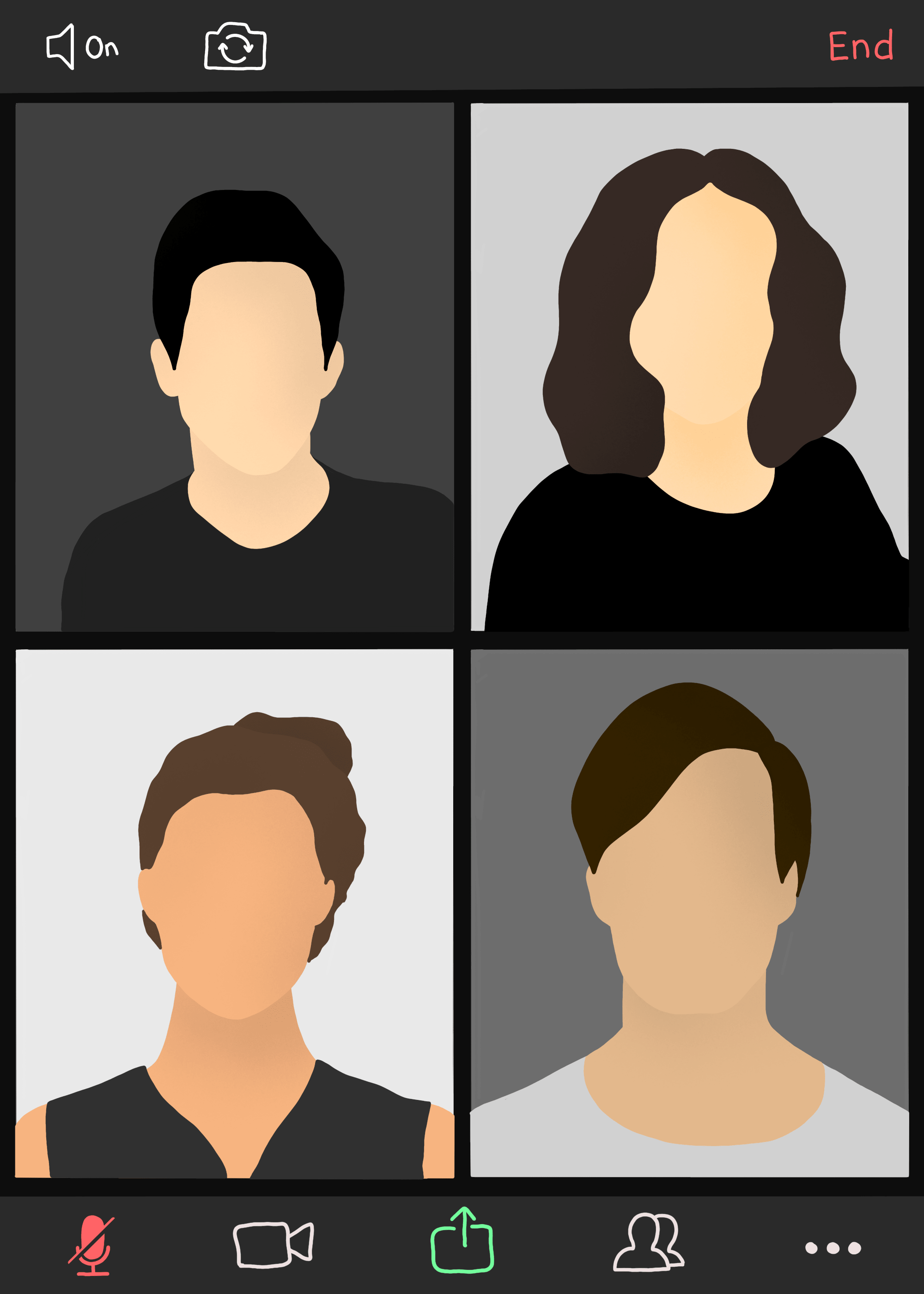 Illustrated heads from four different people in a video conference window.