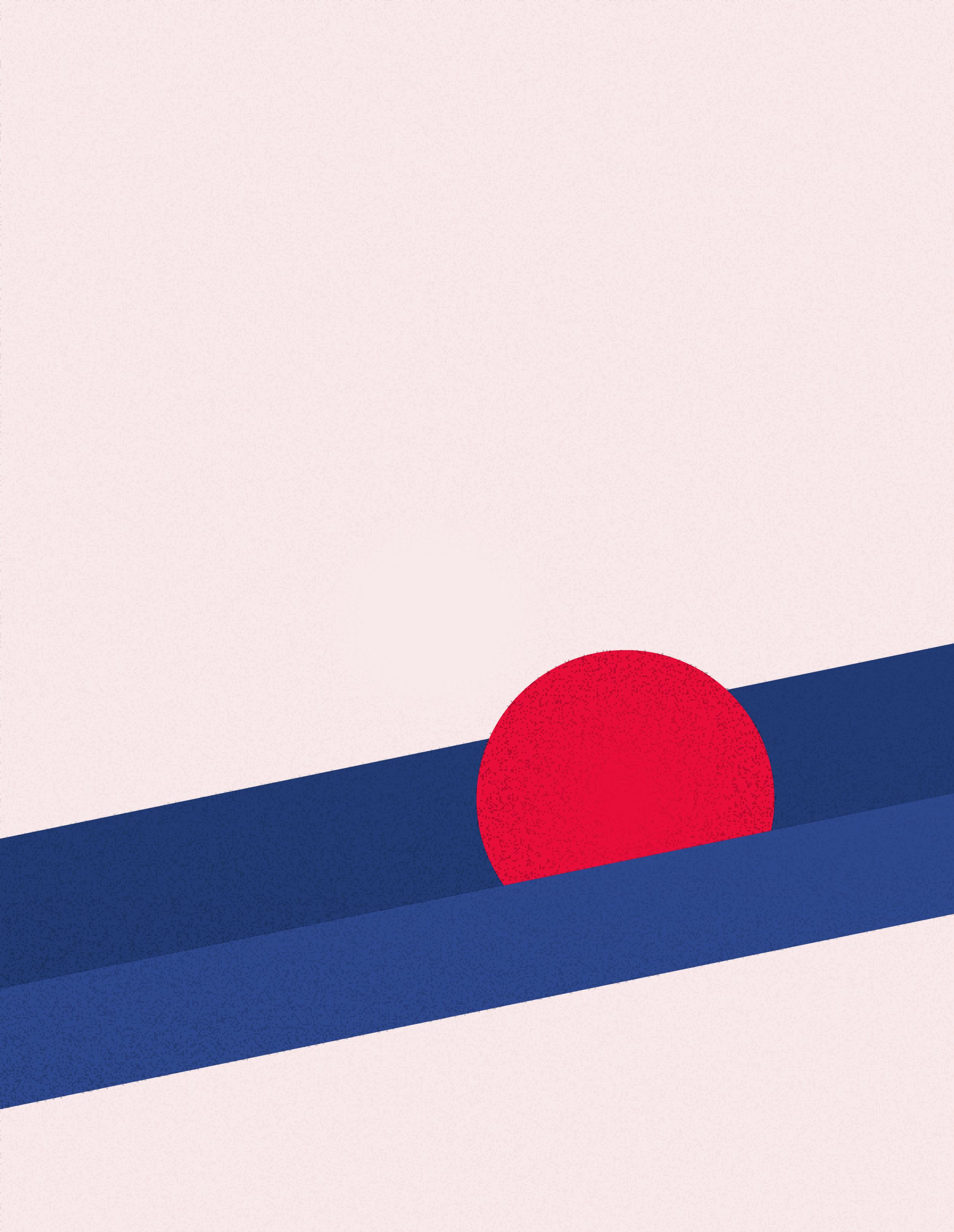 Illustration einer blauen schiefen Ebene, auf der ein roter Ball von rechts nach links rollt.