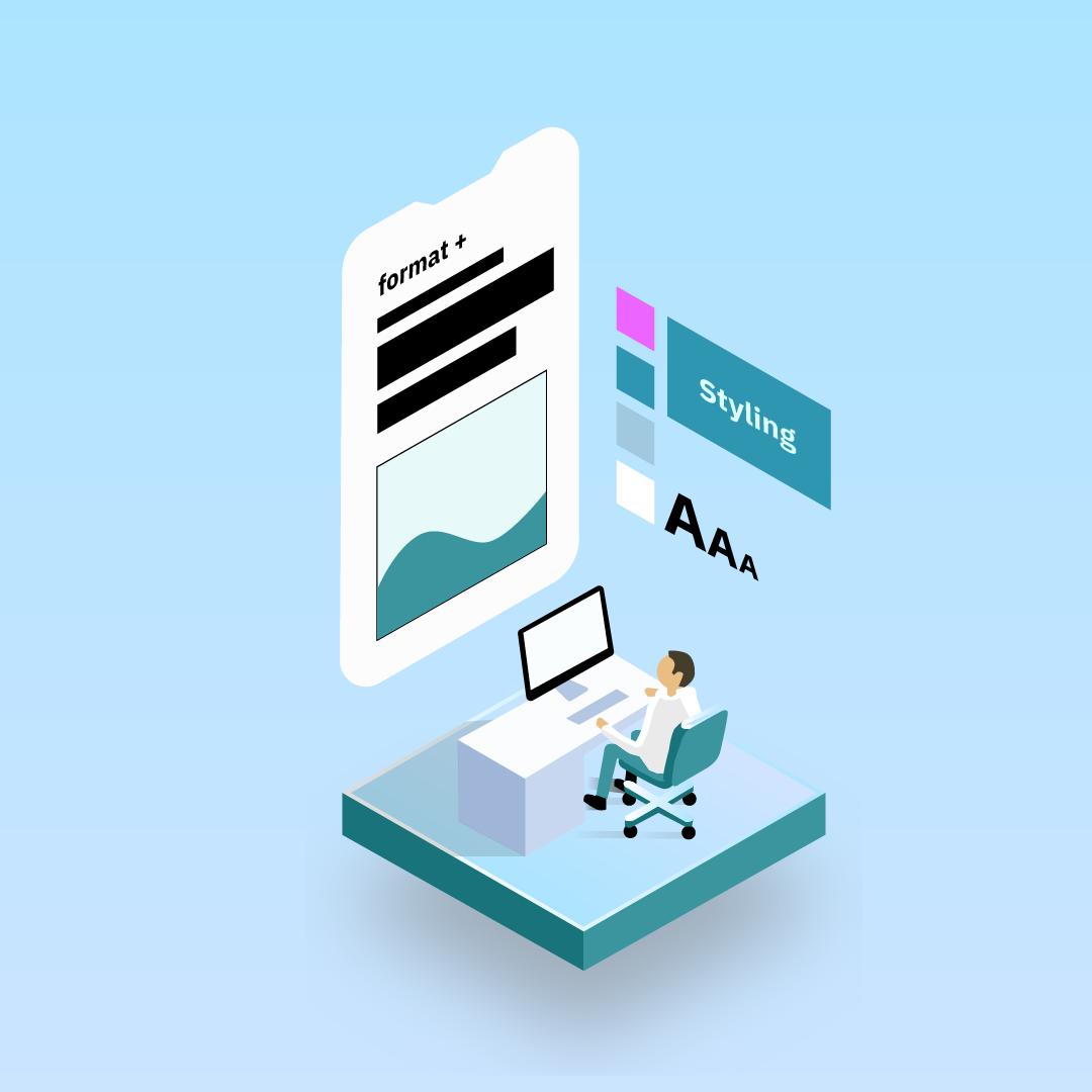 Illustration einens Mannes an einem Schreibtisch, der Style-Änderungen an dem Web-Layout in einem überdimensionalen Smartphone vornimmt