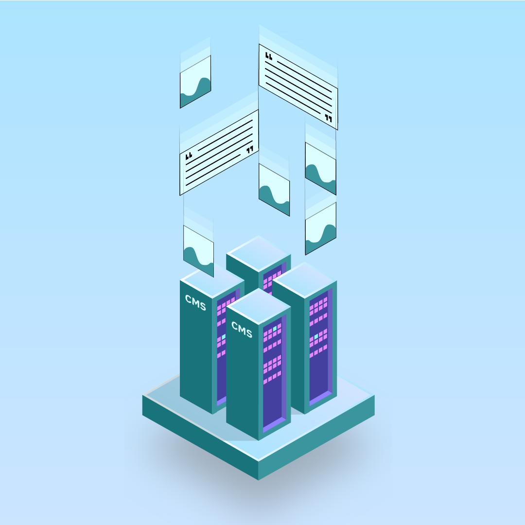 """Illustartion von Server-Regalen mit der Aufschrift """"CMS"""", von denen Bild- und Textinhalte nach oben wegfliegen"""