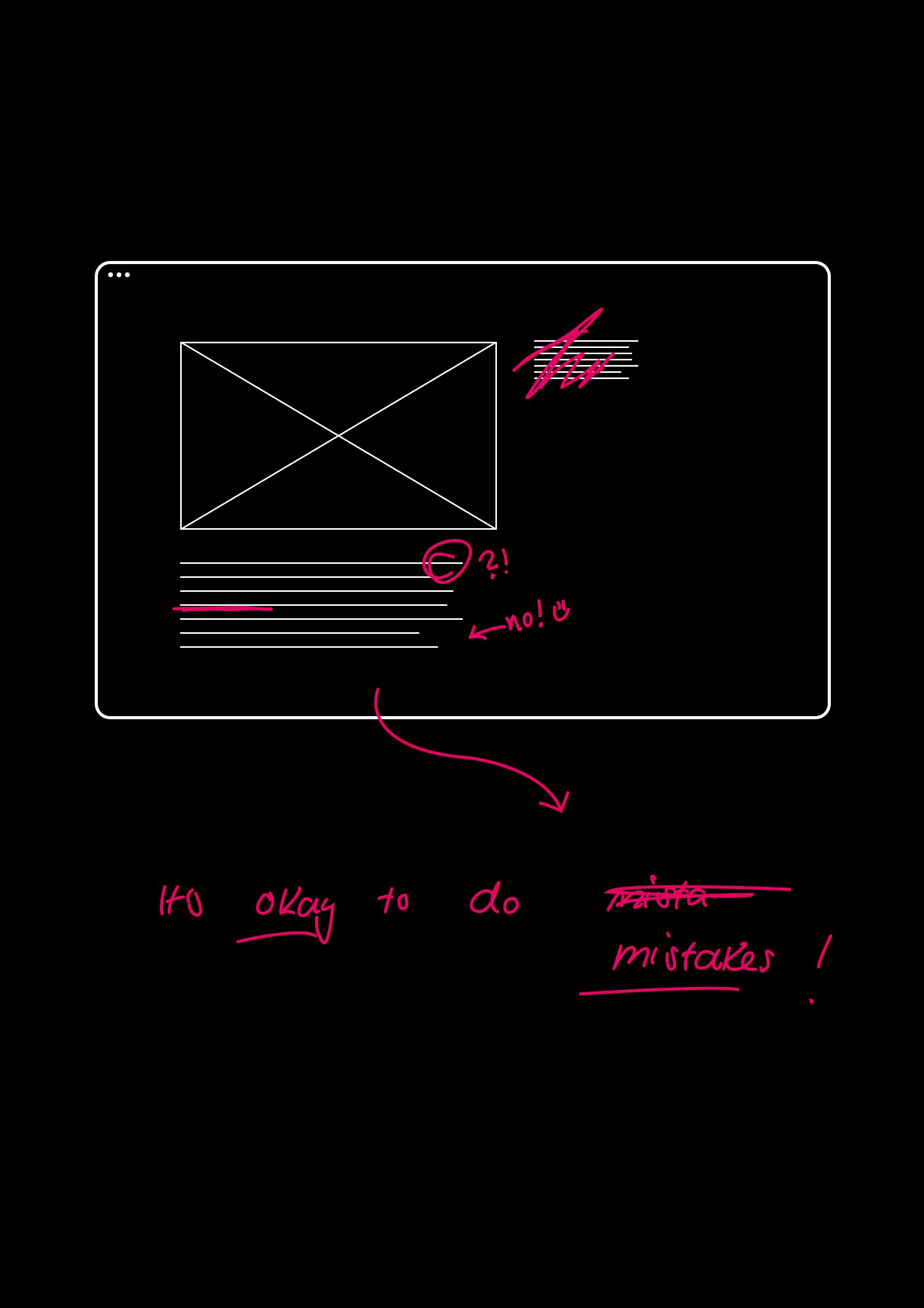 weiße Wireframes auf schwarzem Grund mit pinker Korrekturschrift