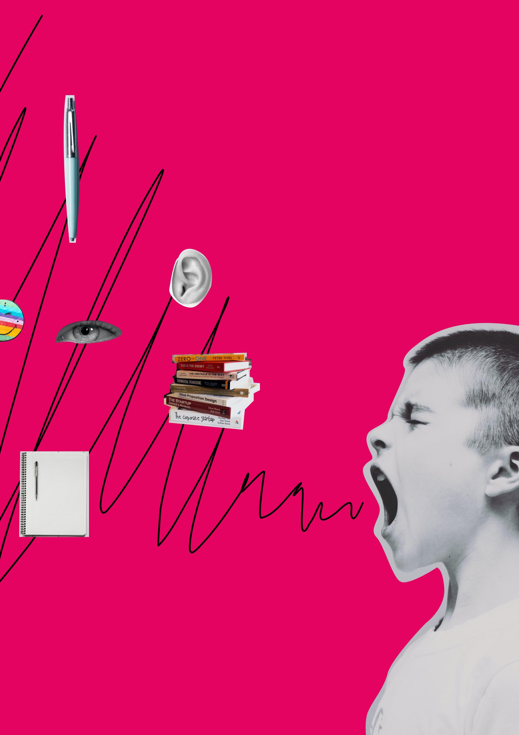 Schreiender Junge welchem Büromaterialien und Körperteile aus dem Mund fliegen