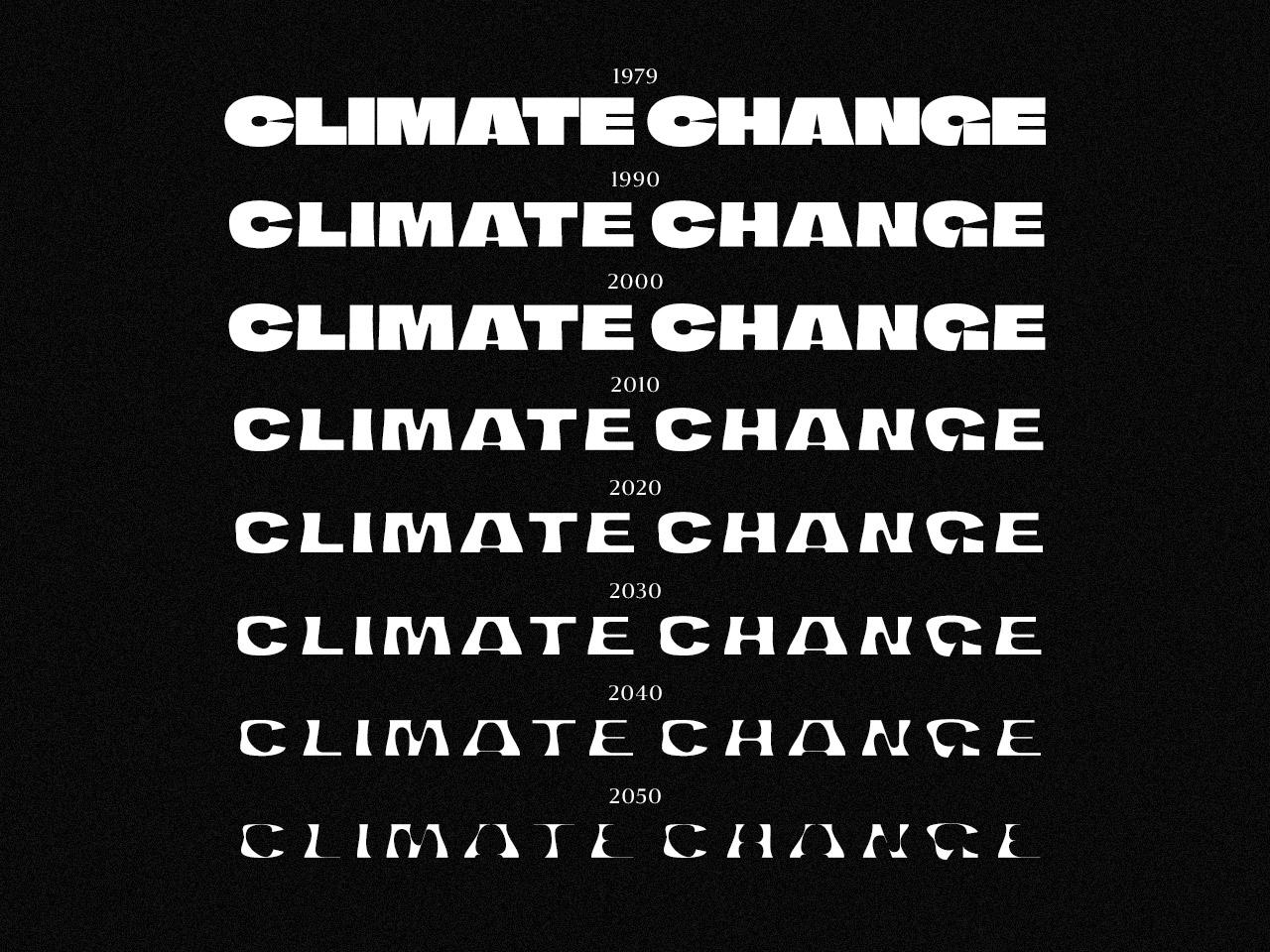 """Das Wort """"Climate Change"""" mehrmals untereinander stehend in abnehmender Strichstärke"""