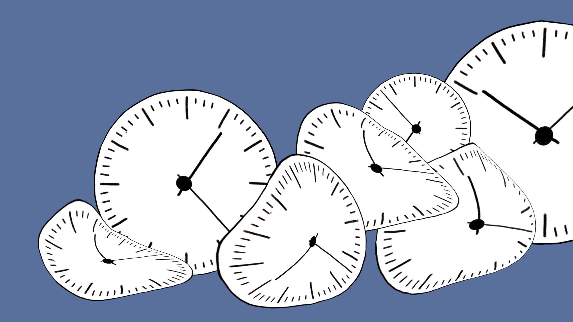 Schwarz weiße Uhrziffernblätter, leicht fließend vervormt, auf lila blauem Hintergrund