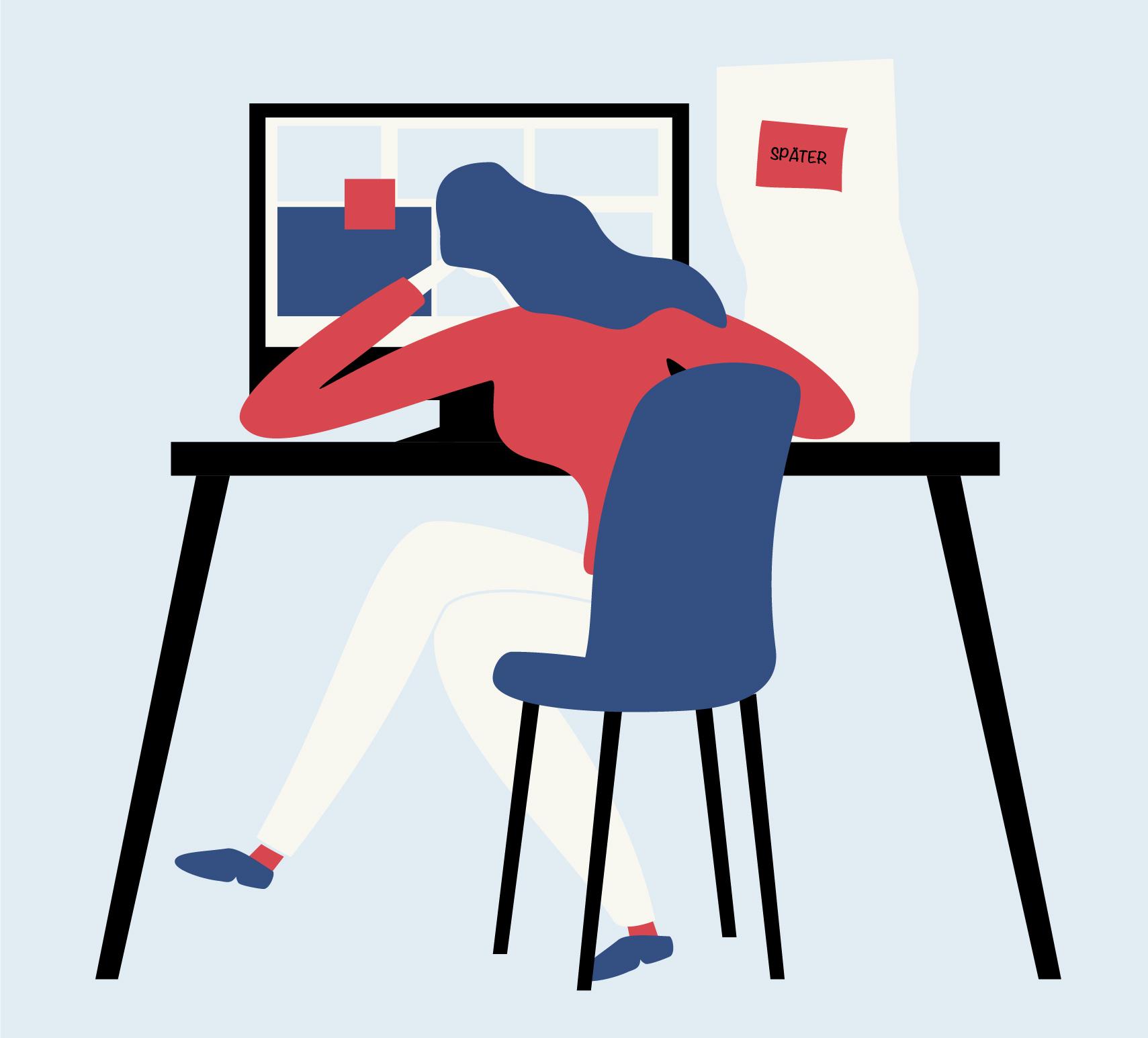 Illustration einer Frau, die vor einem Computer sitzt und unmotiviert ihren Kopf auf ihrer Hand abstützt