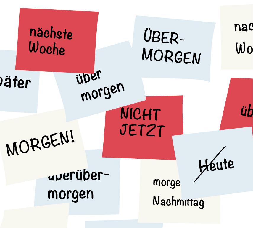 Illustration von verschieden farbigen Sticky-Notes auf denen Begriffe stehen, die den Prokrastinationsprozess bschreiben