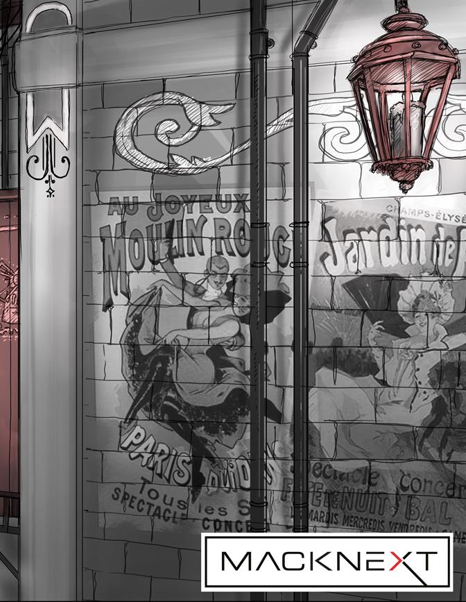 Wand mit Dekration und einer roten Lampe im Vordergrund