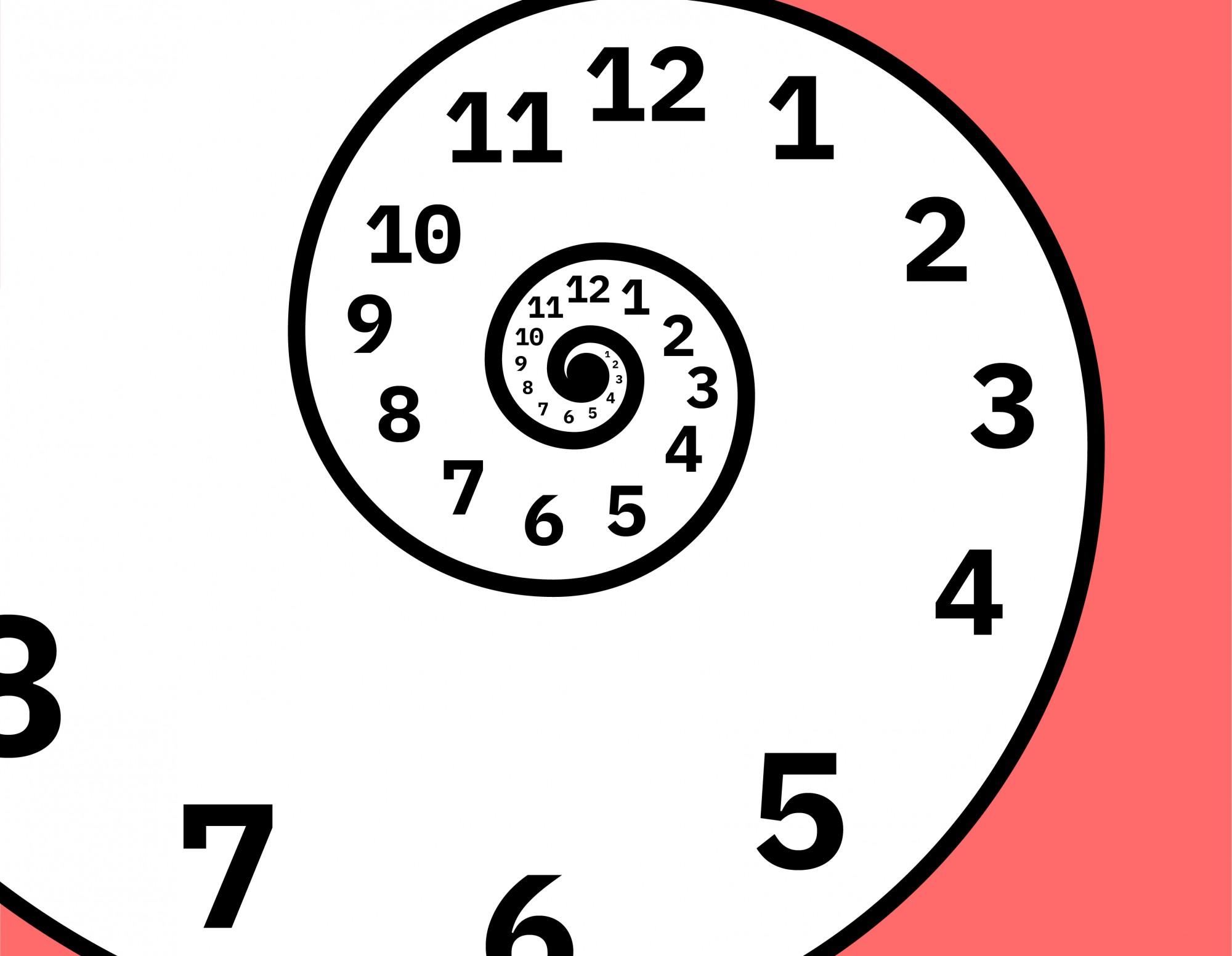 Zeitspirale auf lachsfarbenen Hintergrund
