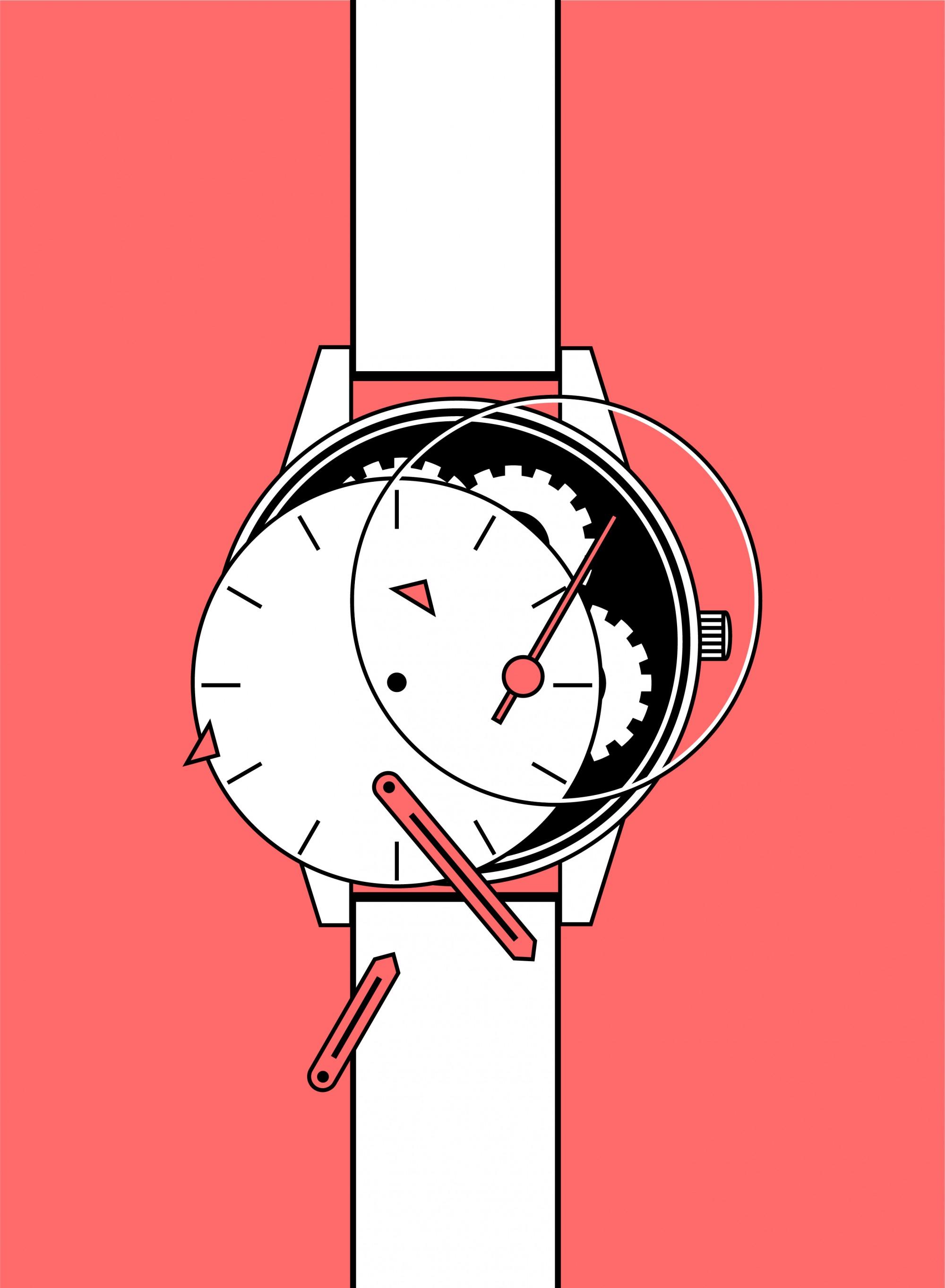 Armbanduhr Illustration auf lachsfarbenen Hintergrund
