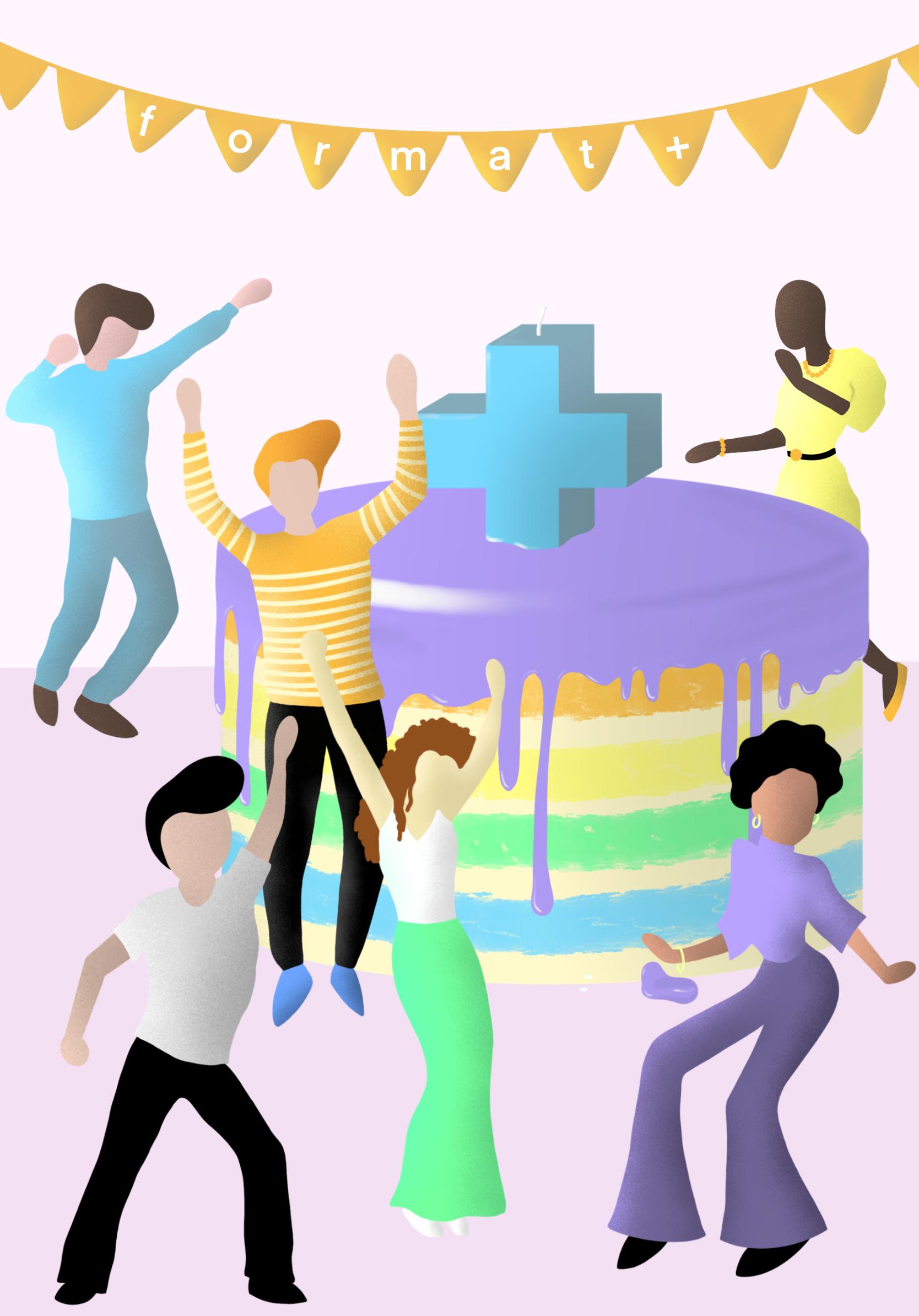 Illustrierte Menschen tanzen um großen Kuchen herum.