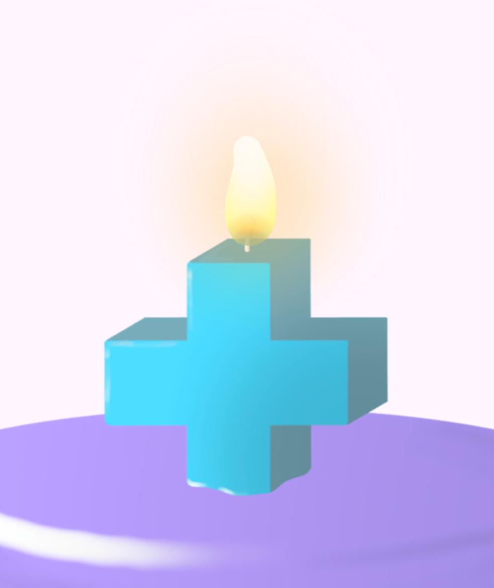 Brennende Kerze in Form eines Plus'