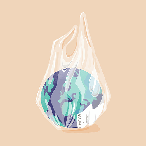 Illustration der Welt in einer Plastiktüte vor einem beige-orangenen Hintergrund