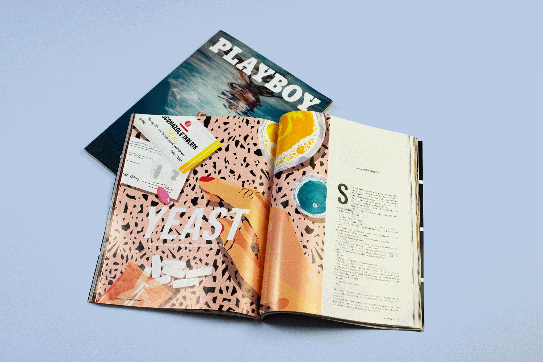 Zwei Playboy Magazine von oben mit Illustrationen von Josephine Rais