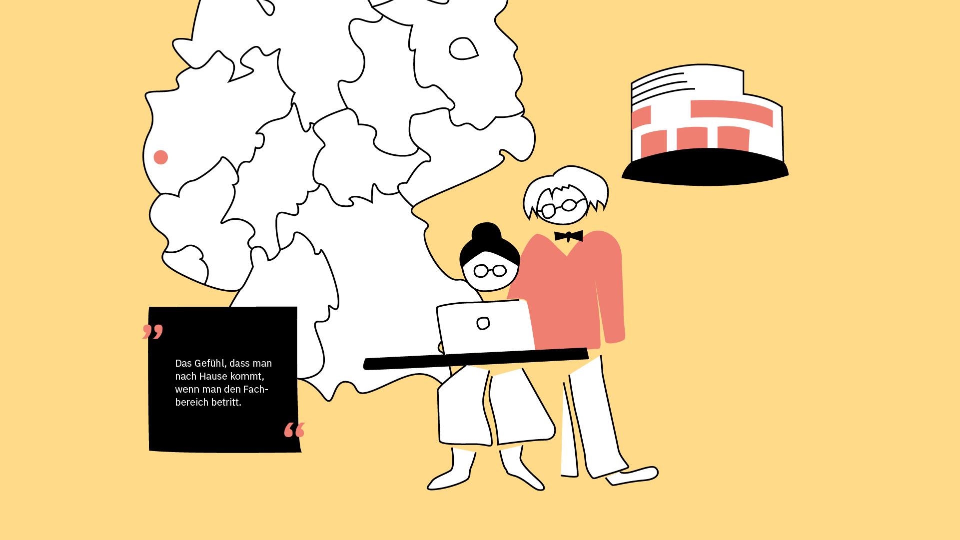 Eine Studentin sizt am Laptop und ein Professor guckt ihr über die Schulter, um zu sehen, was sie macht.