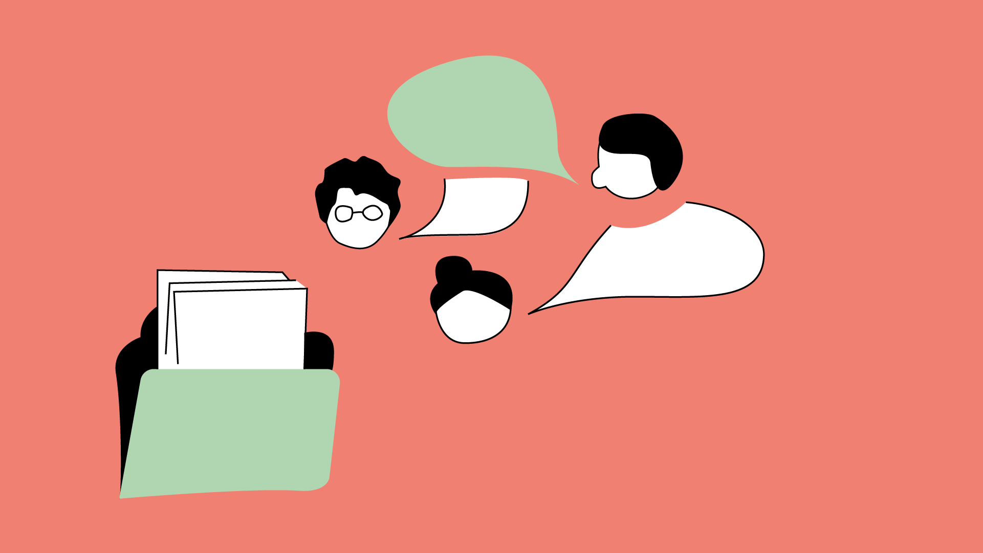 Links unten ist eine Mappe zu sehen und in der Mitte drei Menschen die miteinander sprechen.