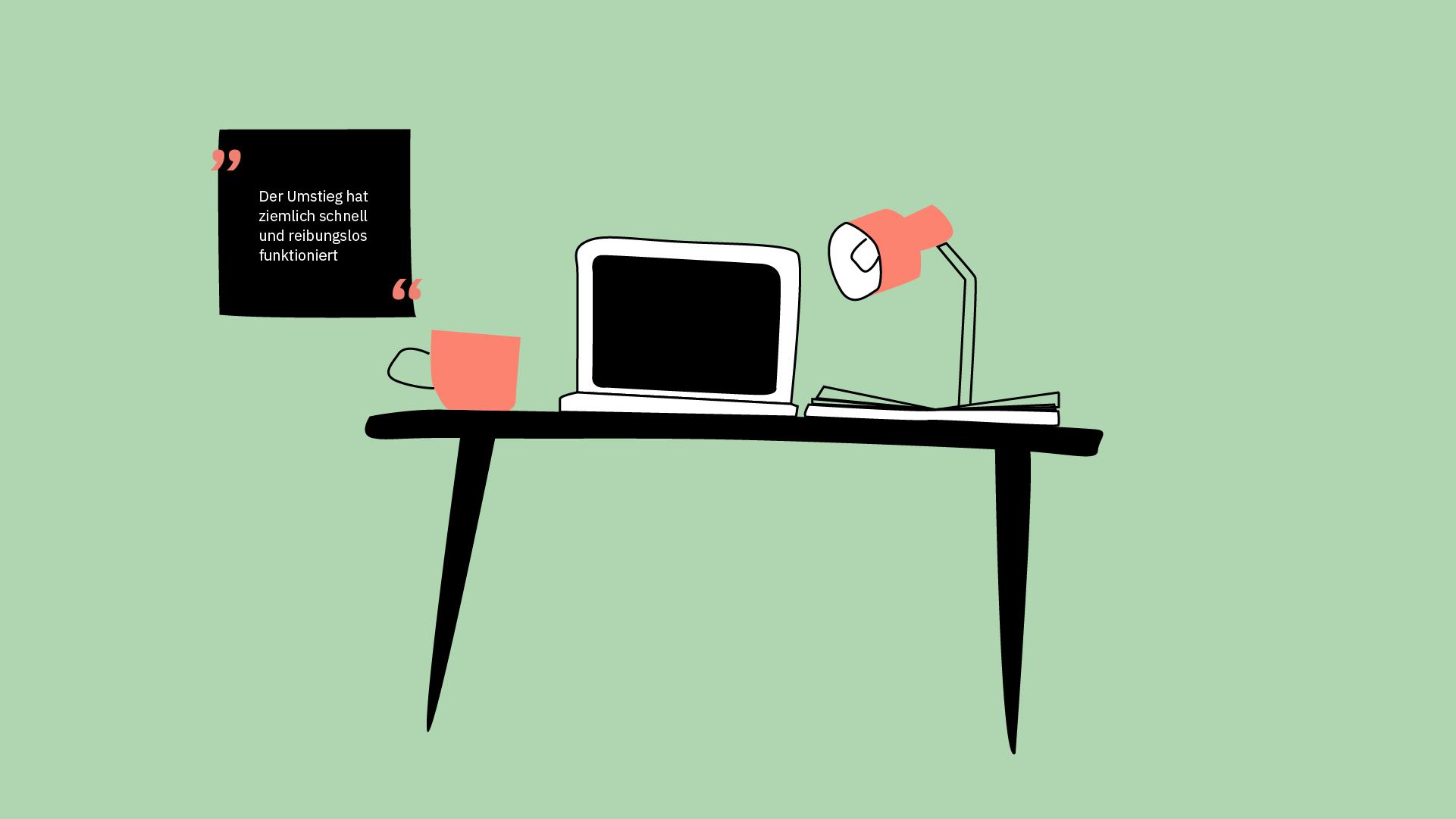 Ein Stilleben aus Stuhl, Laptop, Tasse, Lampe und Buch.