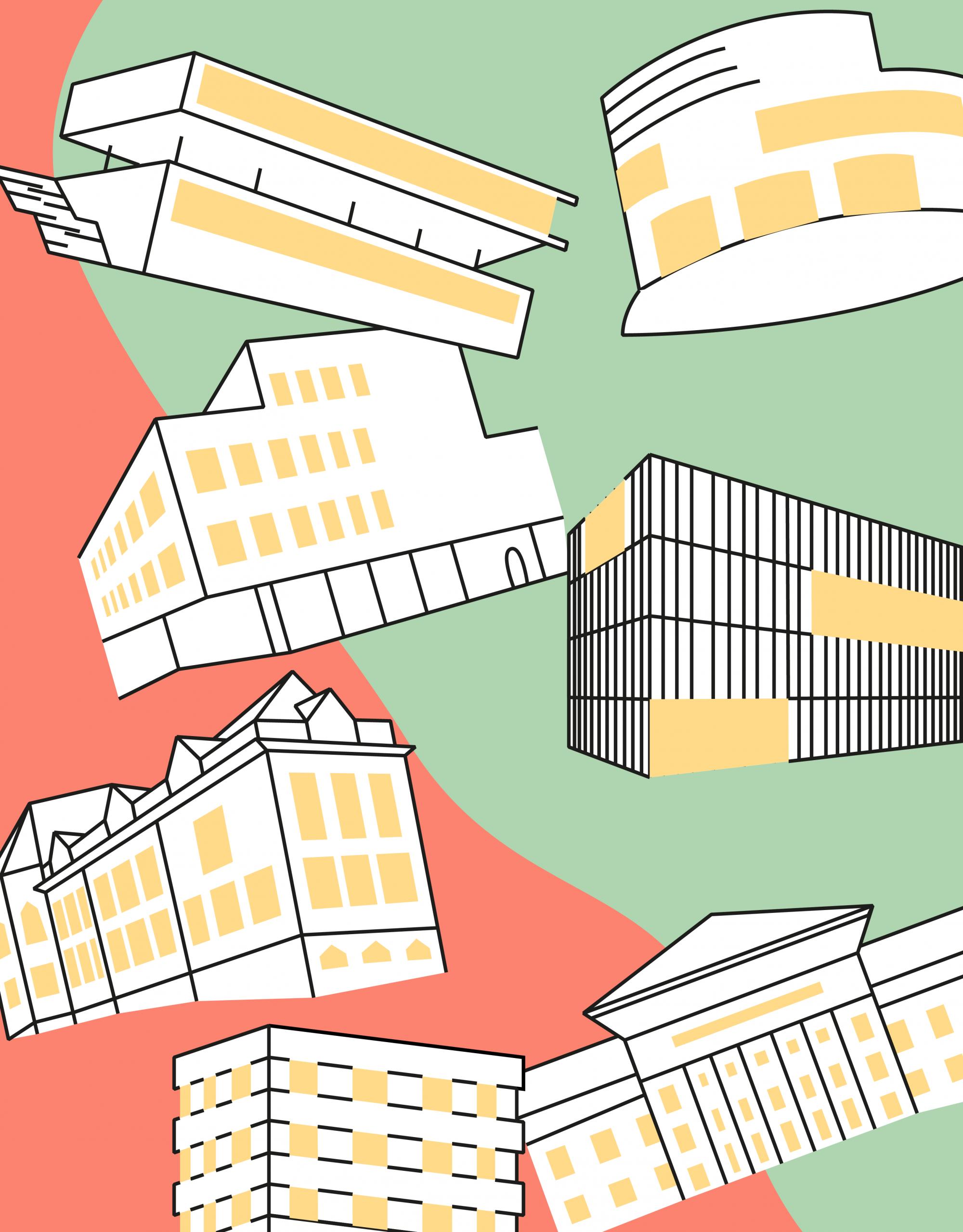 Viele verschiedene Gebäude sind illustratorisch dargestellt und durcheinander angeordnet worden.