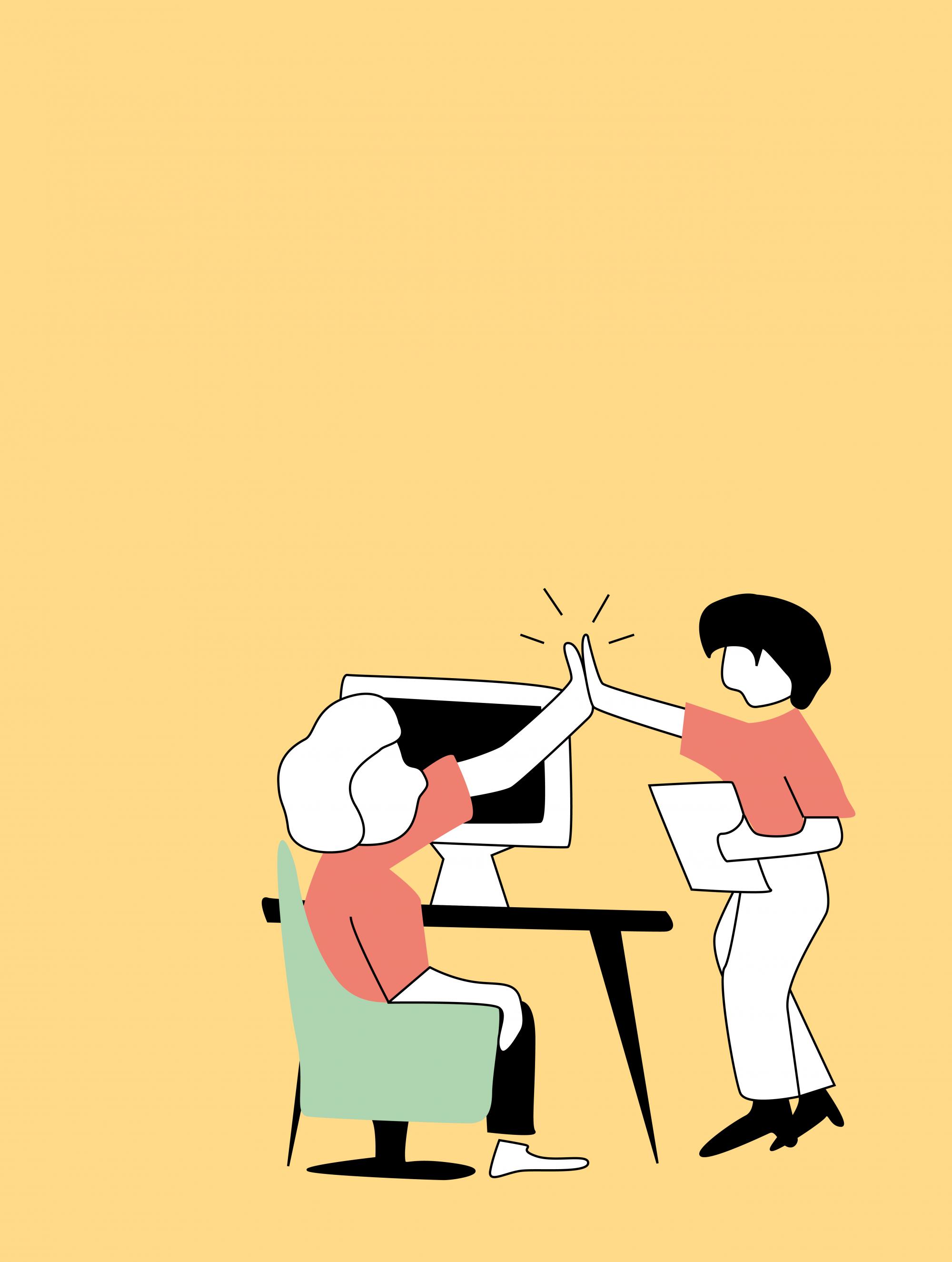 Zwei Personen klatschen sich in die Hände. Eine sitzt in einem Stuhl vor einem Schreibtisch und die andere steht daneben.