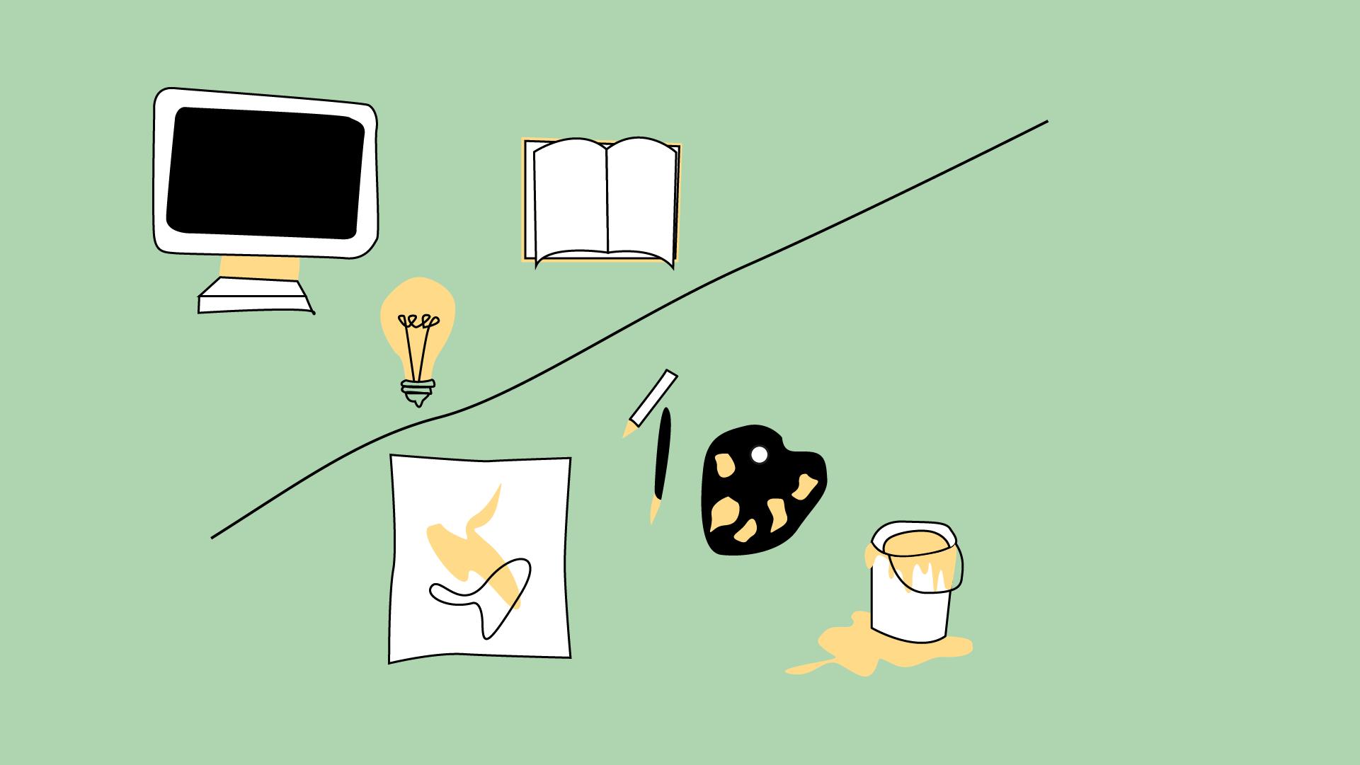Abbildungen von Computer, Glühbirne, Buch, Zeichenblatt, Farbtopf unf Malplatte.