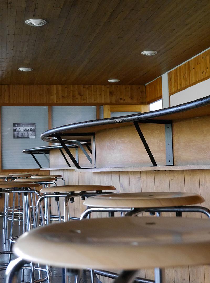hölzerne und metallene barhocker entlang einer bar