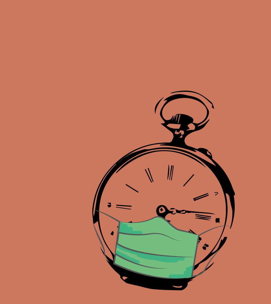 Illustration einer Taschenuhr mit grüner Atemmaske auf orangenem Hintergrund